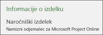 Informacije o Projectu za namiznega odjemalca za Microsoft Project Online