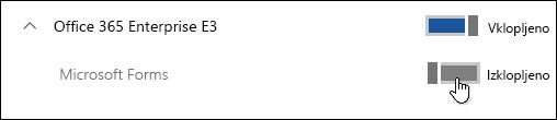 Preklopni gumb za omogočanje ali onemogočanje aplikacije Microsoft Forms