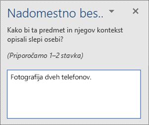 Primer slabega nadomestnega besedila v Wordu za Windows.