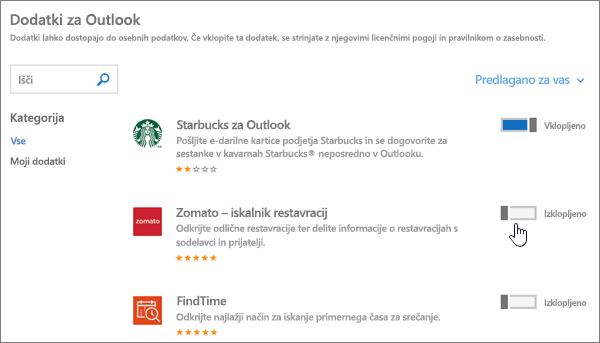 Posnetek zaslona z dodatki za Outlookovo stran, kjer si lahko ogledate nameščene dodatke ter poiščete in izberete več dodatkov.