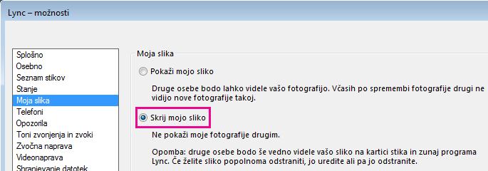 Posnetek zaslona pogovornega okna z možnostmi za sliko z izbrano možnostjo »Skrij mojo sliko«
