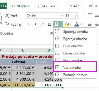 dodajanje obrobe tabeli ali datumskem obsegu