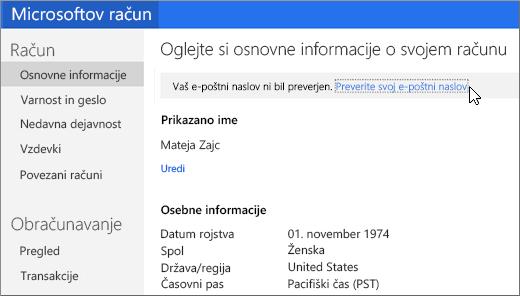 Preverjanje e-poštnega naslova