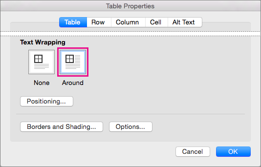 Kliknite okoli, če želite, da se besedilo ovije okoli izbrane tabele.