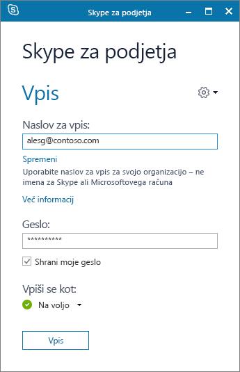 Posnetek zaslona za vpis v Skype za podjetja.