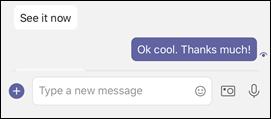 Prebrano sporočilo v aplikaciji Teams