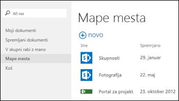 V vrstici s hitrimi opravili v storitvi Office 365 izberite »Mape spletnih mest«, da si ogledate seznam spletnih mest SharePoint Online, ki jih spremljate.