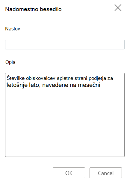 Table Alternative Text dialog box in Word for the web.