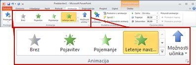 Zavihek »Animacije« na traku PowerPointa 2010