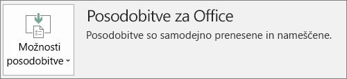 Posnetek zaslona Officeovih posodobitev v računu Officeove aplikacije