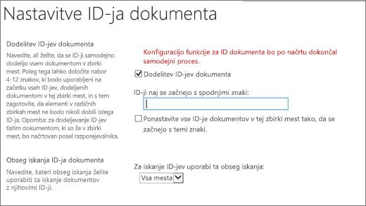 Dodelitev ID-jev dokumenta v na strani nastavitve ID-ja dokumenta