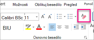 Počisti vse oblikovanje ikona je označena na zavihku sporočilo