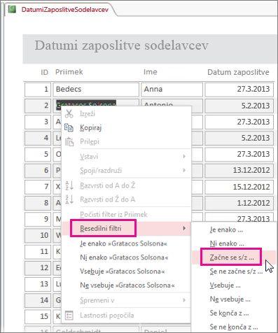 Uporaba filtra v poročilu, tako da z desno tipko miške kliknete vrednost v pogledu poročila.