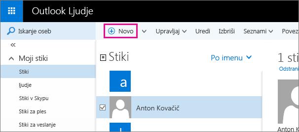 Posnetek zaslona orodne vrstice na strani »Ljudje« v Outlooku z oblačkom za ukaz »Novo«.