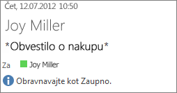 E-pošta označena z »Zaupno«