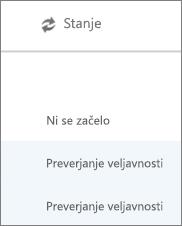 Na strani za selitev podatkov se prikaže stanje selitve za vsakega uporabnika