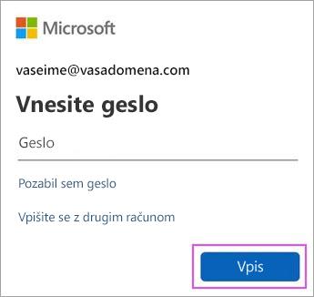 Vnesite svoje geslo za Outlook.com