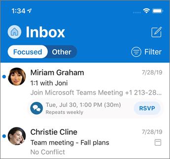 Mapa» Prejeto «v fokusu v programu Outlook Mobile