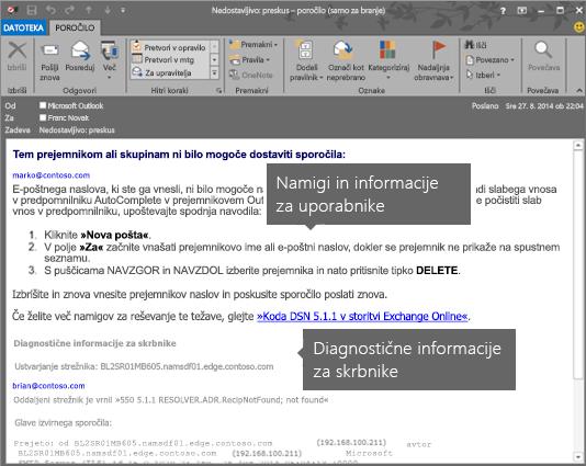 Obvestilo NDR prikazuje diagnostične informacije za uporabnika in skrbnika.
