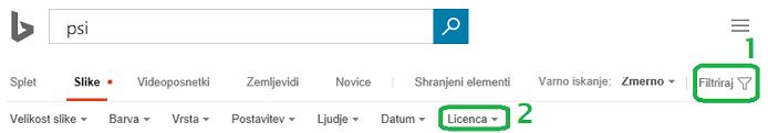 Kliknite gumb »Filter« na desnem robu okna in kliknite meni za filter licence.