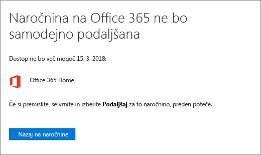 Posnetek zaslona strani za potrditev, če prekličete Office 365 za domačo naročnino.