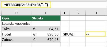 """Celica H4 s funkcijo =IFERROR(E2+E3+E4+E5,""""--"""")"""