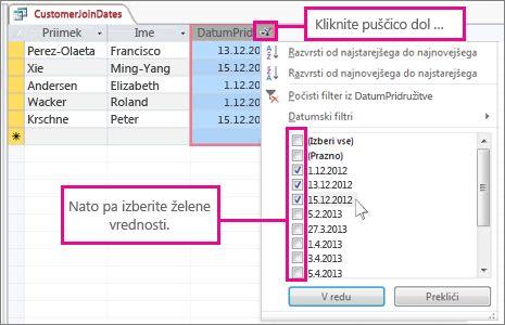 Filtriranje stolpca poizvedbe v namizni zbirki podatkov.