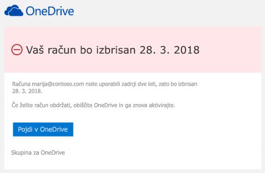 Posnetek zaslona e-poštno sporočilo