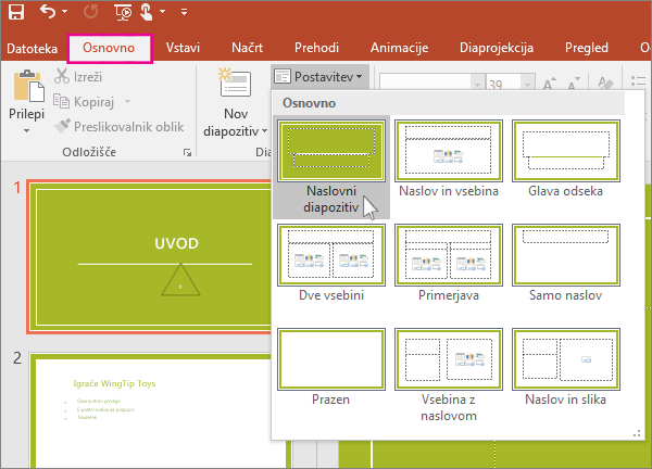 PowerPoint slide layouts