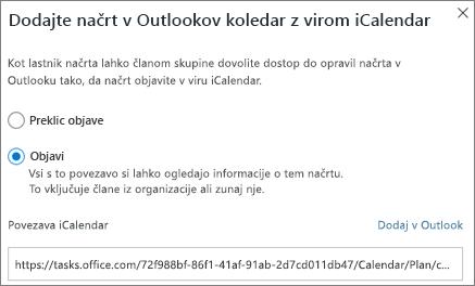 Posnetek zaslona Dodaj načrta v pogovornem oknu Outlookovega koledarja