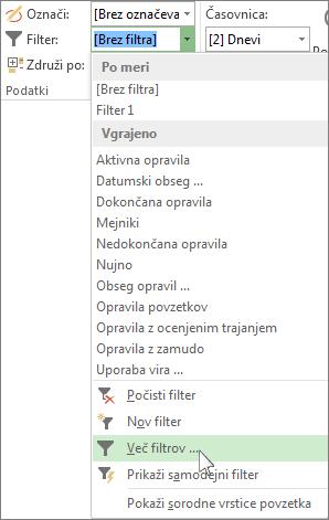 Trak v Projectu, ki prikazuje, kako ustvarite filter po meri.