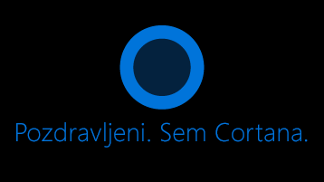 Ikona Cortana kot je prikazano na zaslonu z besedami:» Hi. Sem Cortana «pod ikono.