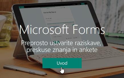 Gumb za začetek dela na domači strani aplikacije Microsoft Forms