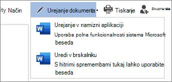 Izbira urejanja v brskalniku za urejanje v Wordu za splet
