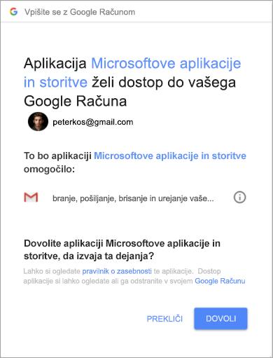 Prikaz okna z dovoljenji za Outlook za dostop do računa za Gmail
