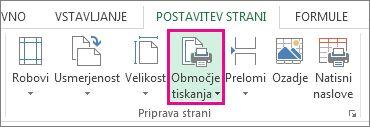 Nastavitev območja tiskanja