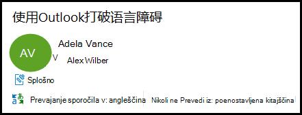 E-poštna glava, ki prikazuje Outlook, ki ponuja prevajanje iz poenostavljene kitajščine v angleščino.