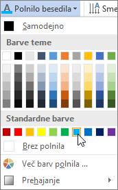 Izbiranje barve polnila besedila
