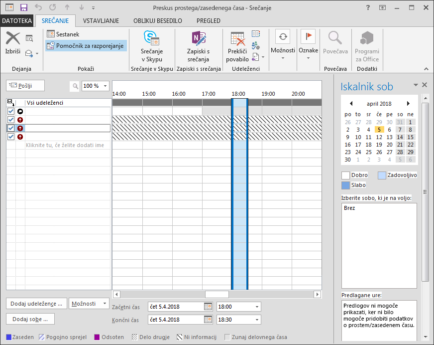 Poševnice med podatki o prostem/zasedenem času