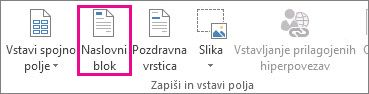 Ukaz za naslovni blok za spajanje dokumentov