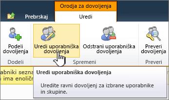 Urejanje uporabniških dovoljenj