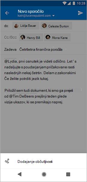 Posnetek zaslona gumba» Dodaj občutljivost «v Outlooku za Android