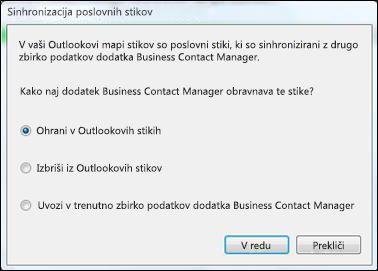 pogovorno okno za sinhronizacijo poslovnih stikov