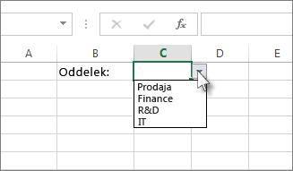 Vzorčni spustni seznam v Excelu