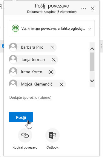 Skupna raba povezave, ki prikazuje seznam imen