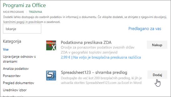 Posnetek zaslona prikazuje Officeovih dodatkov strani, kjer lahko izberete ali poiščite dodatek za Excel.