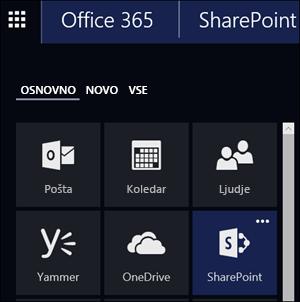 SharePointov naslov v zaganjalniku aplikacij v storitvi Office 365
