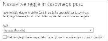 Nastavite jezik v programu Outlook Web App in se odločite, ali želite preimenovati mape