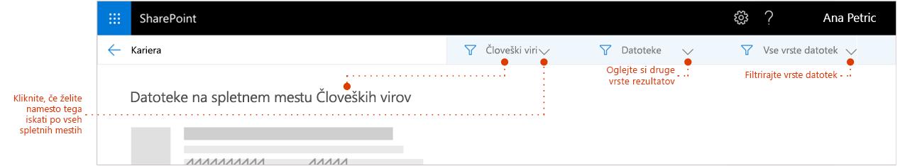 Posnetek zaslona rezultata iskanja strani povečana na vrhu rezultatov, kjer je sledenje prikaz mesta rezultati prihajajo iz. Kazalci s filtri.