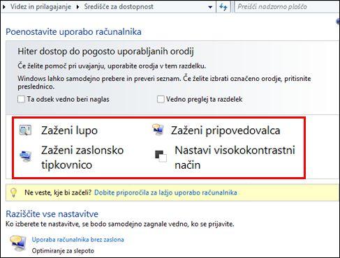 Pogovorno okno Središča za dostopnost v sistemu Windows, kjer lahko izberete različne pomoči za pomoč uporabnikom s posebnimi potrebami